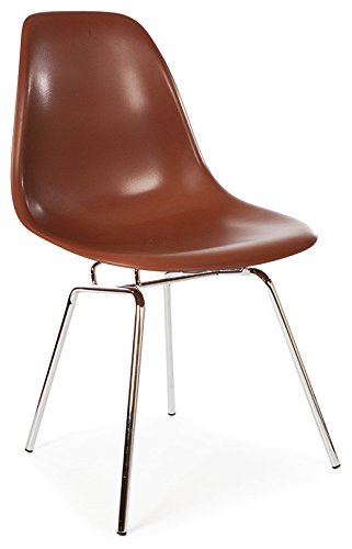 ModHaus Mid Century Modern Brown DSX Chair with 4 Legged H Chrome Steel Base - Inspired by Eames Design - HIGH QUALITY Satin Finish