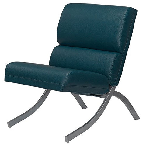 Retro Teal Bonded Leather Accent Lounge Chair with Brush Silver Metal Frame