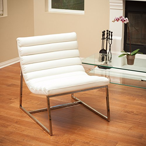 Contemporary Modern White Leather Upholstered Accent Armless Sofa Chair with Stainless Steel Legs