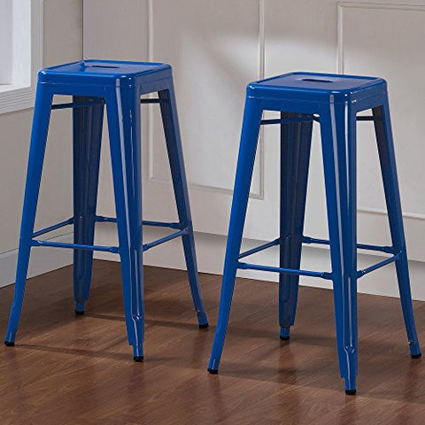 Set of 2 Royal Blue Tolix Style Metal Bar Stools in Glossy Powder Coated Finish