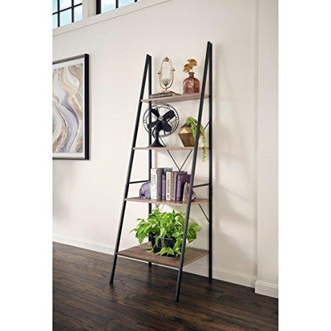Industrial Modern 4 Tier Ladder Shelf with Powder Coated Base (Brown/Grey)