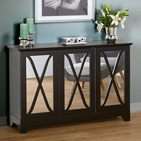 Modern Vintage Buffet Console with Crisscross Design Over Mirrored Doors and 3 Adjustable Shelves
