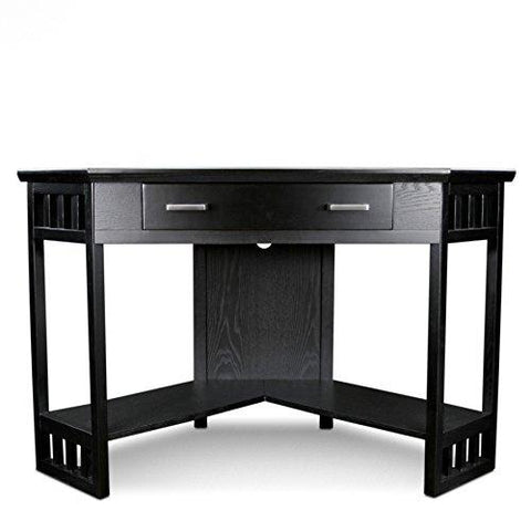 Modern Transitional Wood Corner Desk with Drawer and Shelves  (Black)