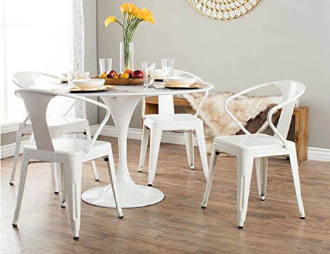 Set of 4 White Metal Chairs in Glossy Powder Coated Finish Stackable Dining