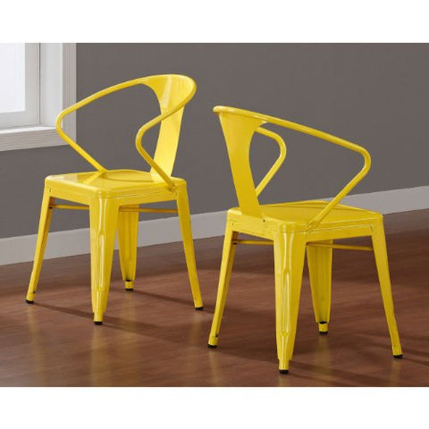 Set of 4 Yellow French Bistro Metal Chairs in Glossy Powder Coated Finish Stackable