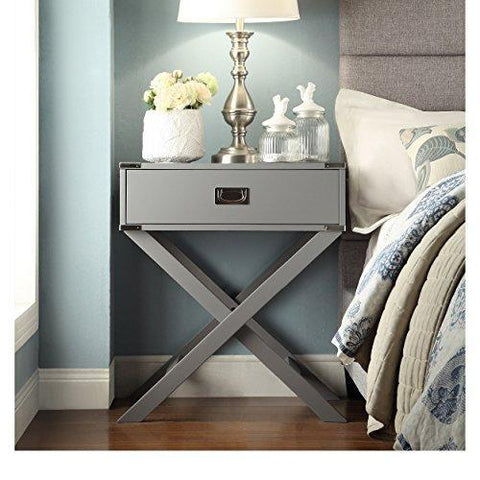 Modern Wood Accent X Base Nightstand Campaign Sofa Table Rectangle Shaped with Storage Drawer - (Gray)
