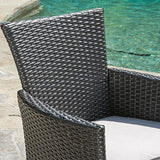 Contemporary Modern Outdoor Wicker Dining Chair with Metal Frame  (Black Wicker + White Cushion)