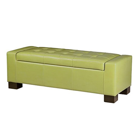 Modern Retro Green Faux Leather Upholstered Tufted Top Storage Bench Ottoman with Wood Legs