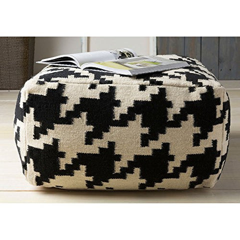 Contemporary Hand Crafted 24 Inch Square Pouf Ottoman (Black)