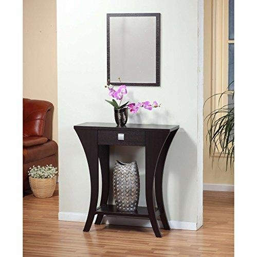 Modern Dark Brown Narrow Sofa Table Console with Bottom Shelf and Storage Drawer
