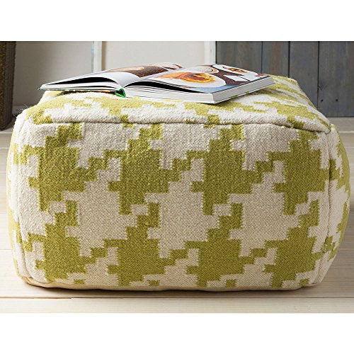 Contemporary Hand Crafted 24 Inch Square Pouf Ottoman  (Green)