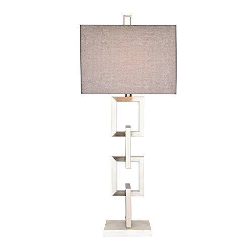 Modern Square Silver Metal Table Lamp with Grey Shade