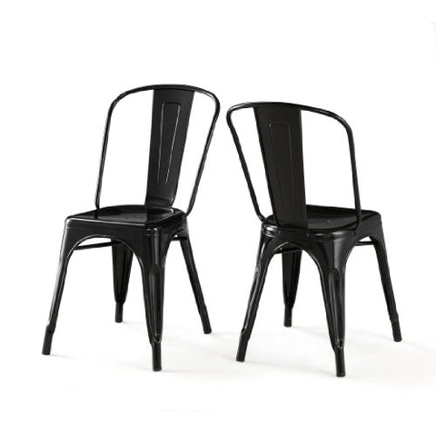 Set of 2 Black Xavier Pauchard Tolix A Style Chairs in Powder Coat Finish Steel