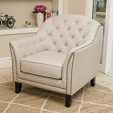 Modern Transitional Button Tufted Upholstered Accent Club Chairs with Nailheads and Espresso Wood Legs (Beige)