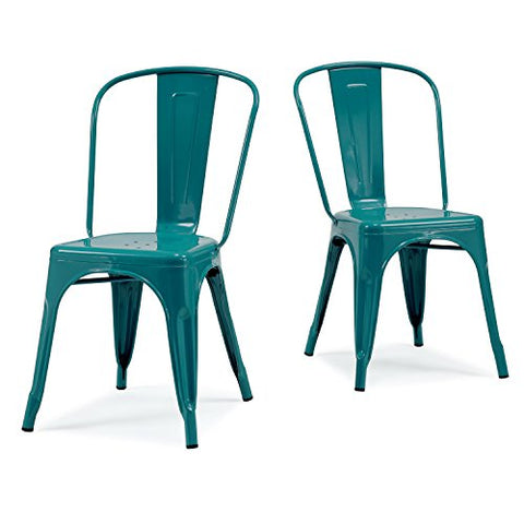 Set of 2 Turquoise French Bistro Metallic Steel Xavier Pauchard Tolix a Style Chairs in Powder Coat