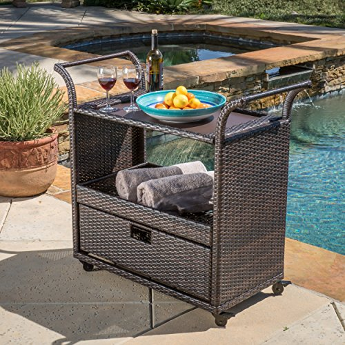 Outdoor Patio Mobile Brown Resin Wicker Bar Cart with Storage