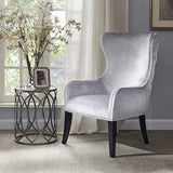Contemporary Silver Gray Upholstered Button Tufted Back Accent Armchair with Nailhead Trim and Dark Wood Legs