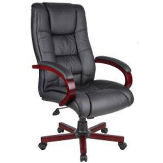 Contemporary Black Upholstery High Back Executive Chair (Mahogany Finish)