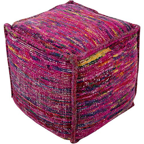 Contemporary 18 Inch Cotton Square Pouf (Pink)