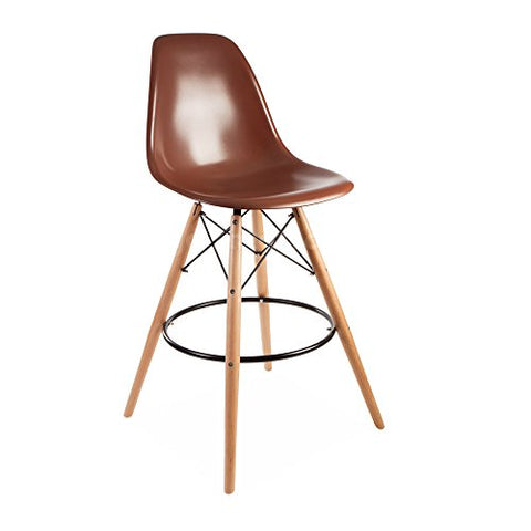 ModHaus Mid Century Modern Eames DSW Style Brown Counter Stool with Dowel Wood Base HIGH QUALITY Satin Finish