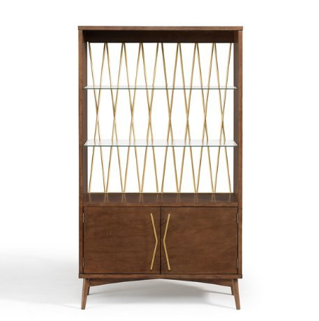 Charmant Mid Century Modern Wood Diamond Gold Metal Back Display Cabinet With 2 U2013  ModHaus Living