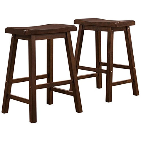 Awe Inspiring Set Of 2 Dark Wood Country Style Saddle Back Solid Wood Bar Stool Counter Height Caraccident5 Cool Chair Designs And Ideas Caraccident5Info