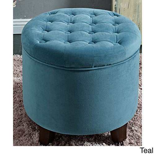 Button Tufted Aqua/Teal Velvet Round Storage Ottoman with Solid Wood Tapered Legs