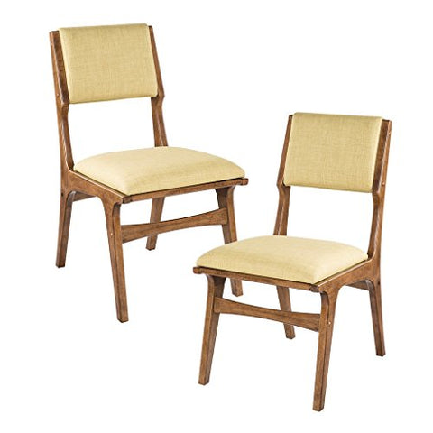 Mid Century Modern Retro Style Wood Accent Armless Dining Side Chairs with Lime Upholstery Seats in Walnut Finish (Set of 2)