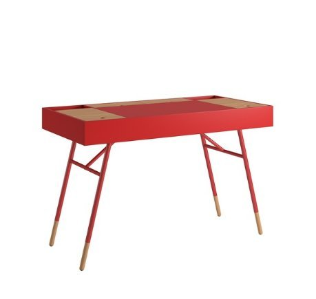 Modern Retro Two Toned 4 Compartment Writing Desk with Tapered Legs (Red)