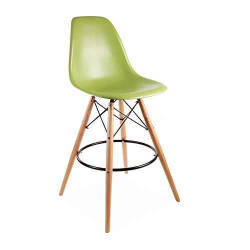 ModHaus Mid Century Modern Eames DSW Style Green Counter Stool with Dowel Wood Base HIGH QUALITY Satin Finish