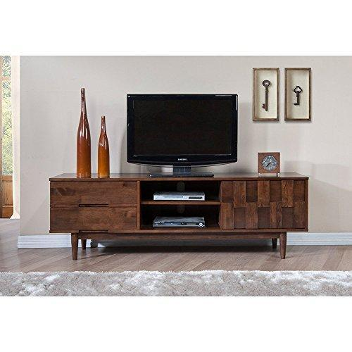 Mid Century Danish Style Wood 70 inch Media Console TV Stand in Rich Finish with 2 Drawers