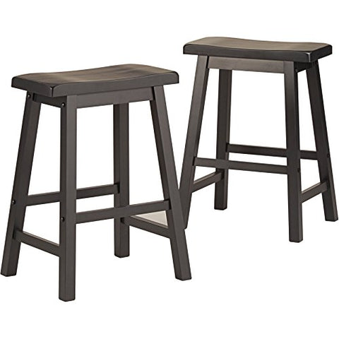 Marvelous Set Of 2 Charcoal Black Country Style Saddle Back Solid Wood Bar Stool Counter Height Caraccident5 Cool Chair Designs And Ideas Caraccident5Info