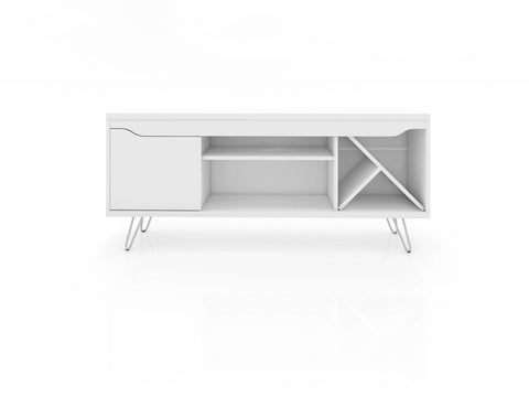 Modern TV Stand with Wine Rack and  Splayed Metal Legs in White