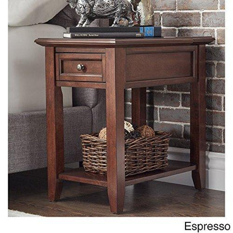 Modern Espresso Brown Wood Accent End Table Night Stand with Hidden Power Strip Charging Station, Storage Drawer and Shelf