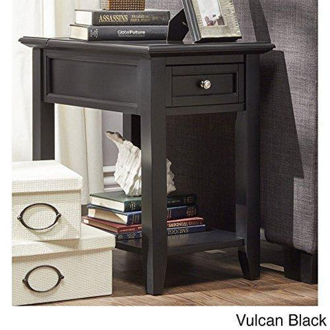 Modern Wood Accent End Table Night Stand With Hidden Power Strip