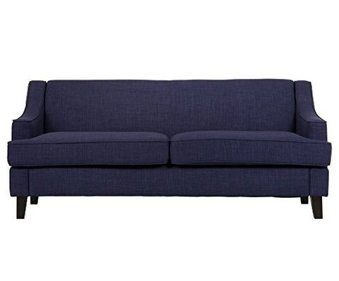 Modern Swoop Arm Navy Blue Linen Upholstered Fabric Sofa Dark Wood Tapered Legs