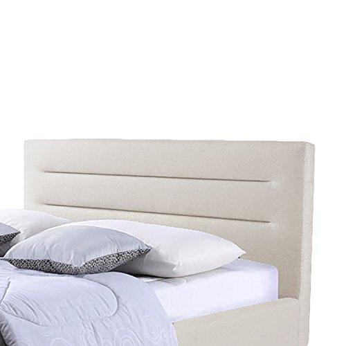 Contemporary Fabric Upholstered Platform Bed with Grid Tufted Headboard and Wood Legs (Queen)