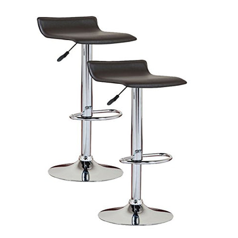 Peachy Modern Swivel Adjustable Height Backless Counter Bar Stools With Faux Leather Seat Chrome Finish Pedestal Base Set Of 2 Black Pabps2019 Chair Design Images Pabps2019Com