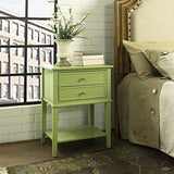 Contemporary Wood Accent Side Table with 2 Drawers and Lower Open Shelf  (Green)