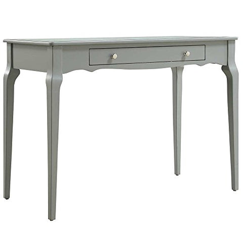 Modern Contemporary Wood Accent Computer Student Workstation Office Desk with 1 Drawer and Curved Legs (Grey)