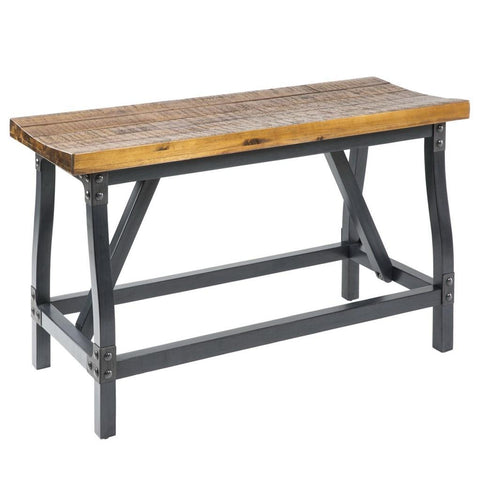 Industrial Rustic Wood and Metal Counter Height Gathering Dining Bench