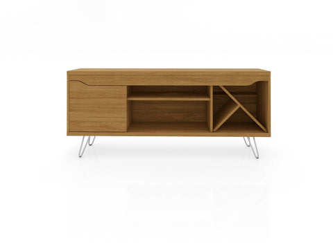 Modern TV Stand with Wine Rack and  Splayed Metal Legs in Cinnamon