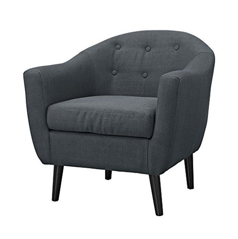 Mid Century Style Charcoal Gray Button Tufted Upholstered Accent Armchair with Tapered Espresso Wood Legs