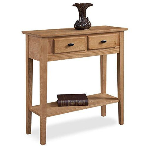 Contemporary Wood Accent Console Sofa Table with 2 Drawers and Bottom Shelves