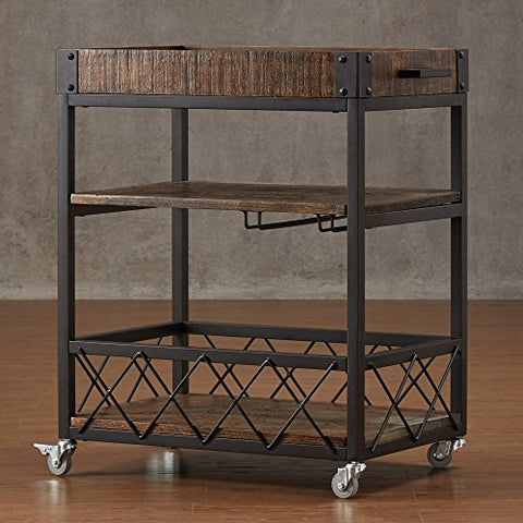 Modern Style Rustic Mobile 3-Tier Kitchen Bar Serving Rolling Wine Cart with Removable Tray Top and Bottom Shelf | Black Metal Frame, Wooden Shelves Bistre Brown