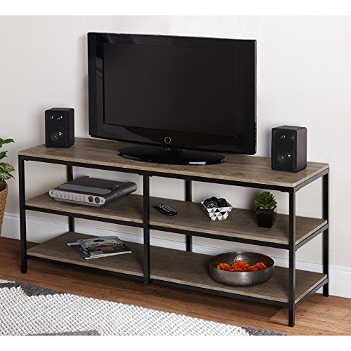 Modern Industrial Natural Finish Top Entertainment TV Stands with 2 Shelves and Metal Frame