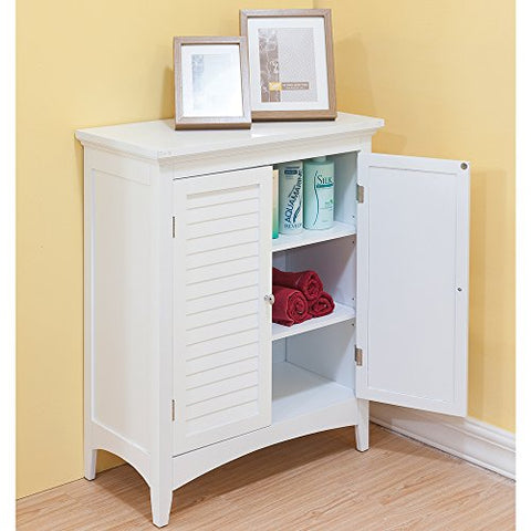Modern Shaker Wood 2 Door Crown Molded Top Floor Storage Cabinet with Shelves in White Finish