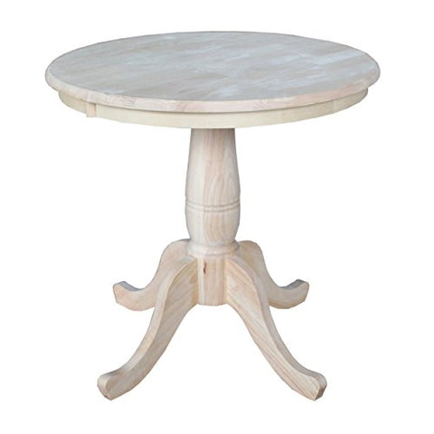 Modern Style 30-inch Wooden Round Top Pedestal Base Dining Table | Natural Finish