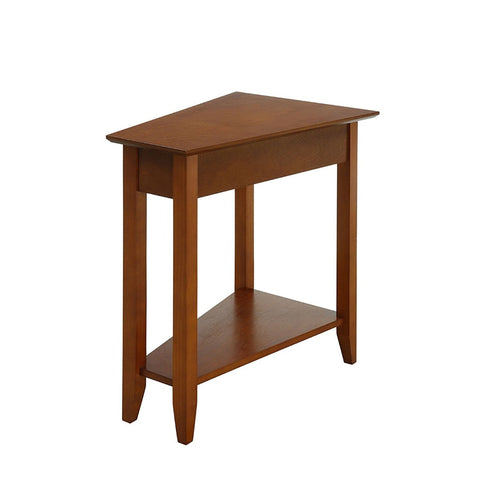 Modern Transitional Wood Accent End Side Table with Bottom Shelf and Tapered Legs (Brown)