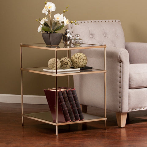 Contemporary Metal Accent End Side Table with 2 Clear Glass Shelves and Mirror Base Shelf